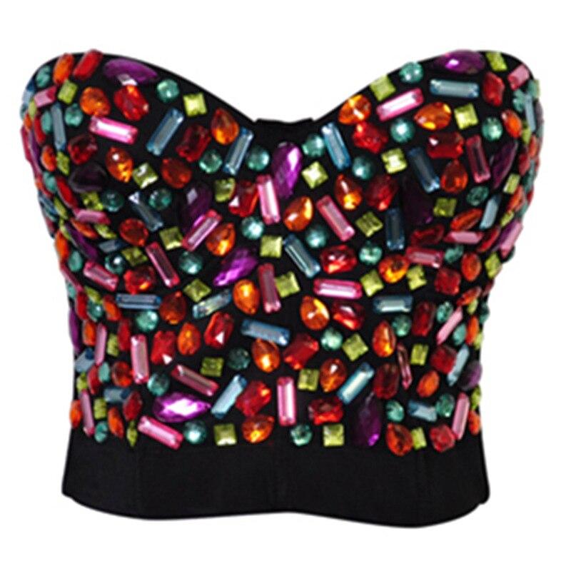 Sexy Lingerie Sexy Women's   Corset   Rhinestone Cover   Bustier   Top Rainbow   Corsets   Colors Bikini Bra