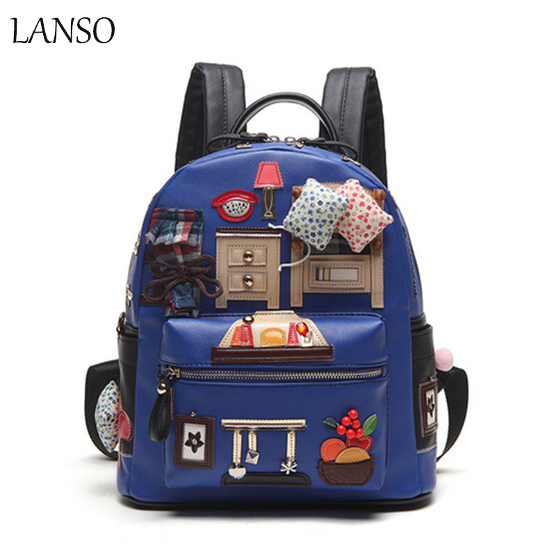 ФОТО Backpack High Quality PU Leather School Bags For Teenagers Girls Top-handle Backpacks Features cartoon collage backpack