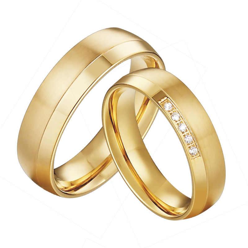 4c0a40f5ae5c Anillos De Compromiso clásicos para hombre joyería Color oro amor alianzas  comodidad ajuste aniversario boda pareja