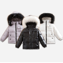 цена на 2018 Winter Down Jacket for Girls Boys Coats 90% Down Feather Jackets Children's Clothing for Snow Wear Kids Outerwear & Coats