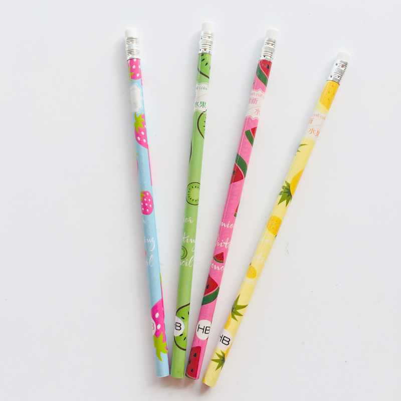 4X Summer Style Fruit HB Standard Wooden Pencil Writing Drawing School Supply Student Stationery