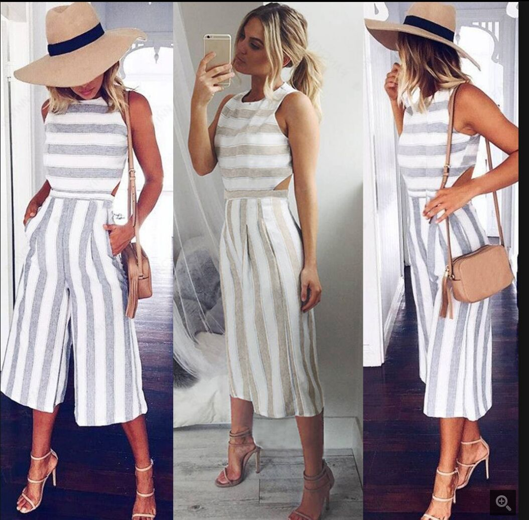 9f0ba8d148e3 Women Jumpsuits 2018 New design Fashion gray white stripe popular jumpsuits  Cotton Linen Loose Casual Playsuits-in Rompers from Women s Clothing on ...