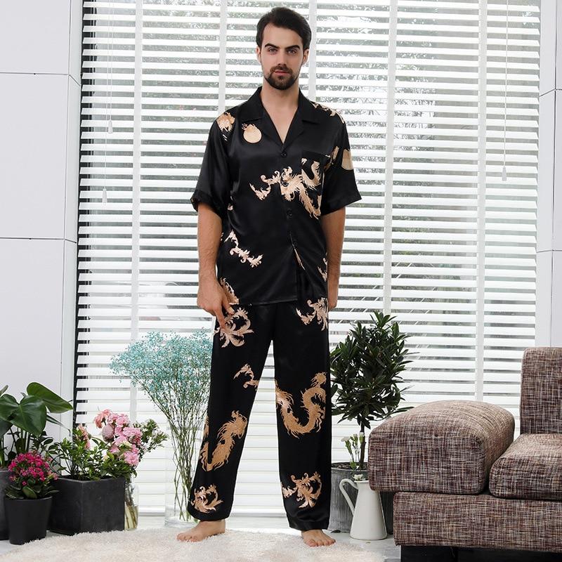 Male Summer Stain Silk Chinese Dragon Print Pajamas Set Mens Short Sleeve Trousers Pajamas Couple Thin Home Nightclothes