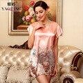Women Imitation Silk Satin Floral Bathrobe Short Sleeve Sleepshirt