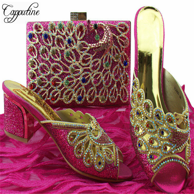 Capputine High Quality Rhinestone Elegant Shoes And Bags Set For Wedding Dress Nigeria High Heels Woman Shoes And Bag Set BL005