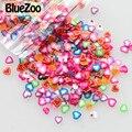 BlueZoo 1000 pcs Cores Misturadas Adesivos Decalques Decorações Da Arte Do Prego da Forma Do Coração Acessórios Fatia Fimo Unhas Dicas Unhas