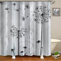 Clássico do vintage dandelion à prova ddanágua cortina de chuveiro poliéster tecido banheiro cortina de chuveiro conjunto com ganchos cinza|Cortinas de chuveiro|Casa e Jardim -