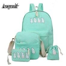 Aequeen 4 шт. Для женщин Рюкзаки холст печати Рюкзаки милые Школьные сумки для подростков Обувь для девочек travel pack 4 шт. сумочки