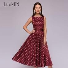 Women Vintage Polka Dot Print Dress Elegant Party Summer O-neck A Line Slim Mid-calf Dress Red Sleeveless Dresses Belt Vestidos цена в Москве и Питере