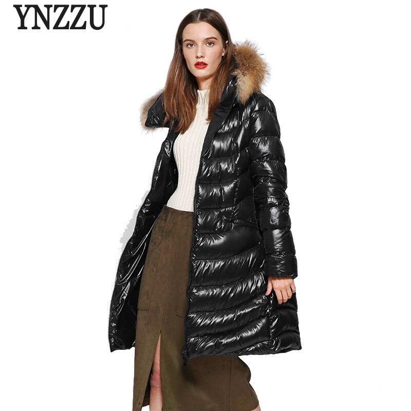 YNZZU High Quality 2018 Winter Women   Down   Jacket Elegant Long White Duck   Down     Coat   with Real Raccoon Fur Collar Hooded   Coat   O642