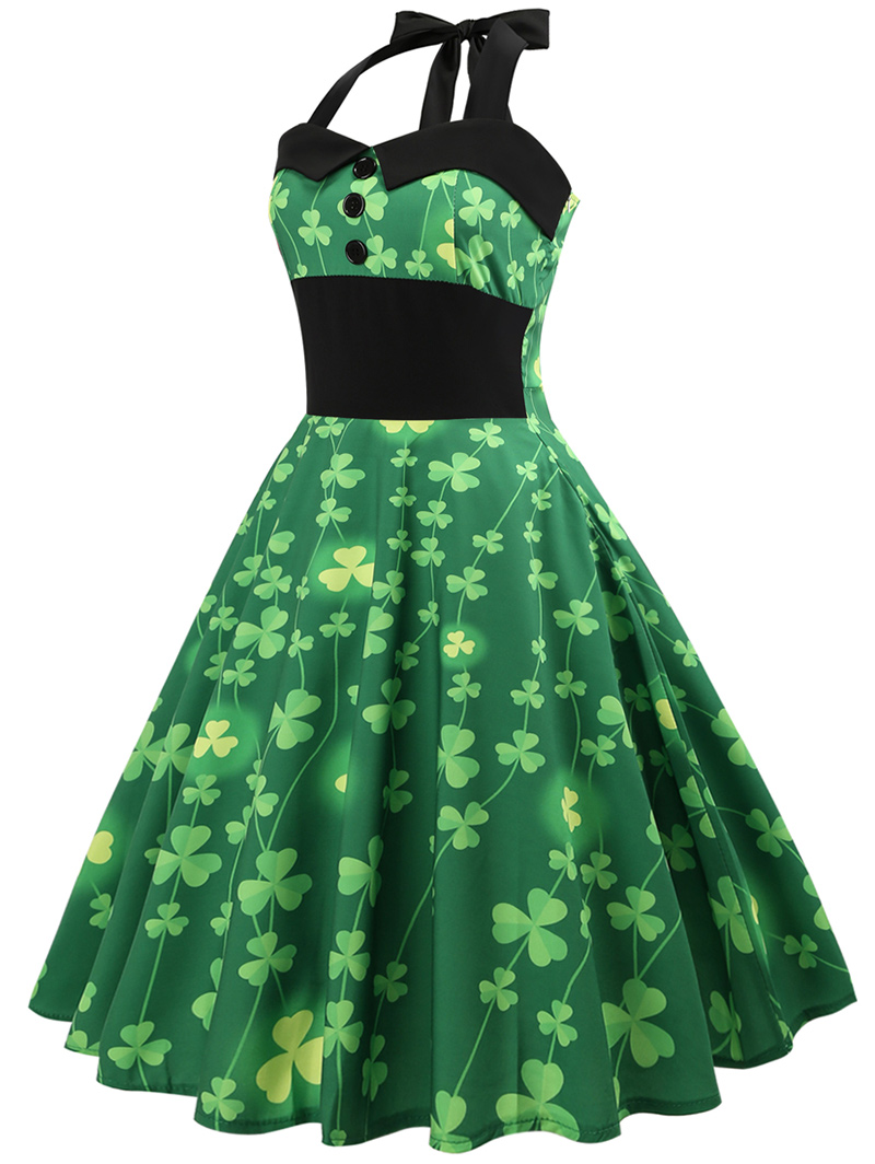 13eb0fc71ca20 ZUFUL Clover Floral Print Vintage Dress Women Halter Pin Up Summer Dress  Audrey Hepburn 50s Rockabilly Retro Swing Party Dresses-in Dresses from  Women's ...