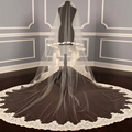 Free Shipping 2016 Best Seller Ivory 3 Meters Length Lace Bridal Wedding Veils