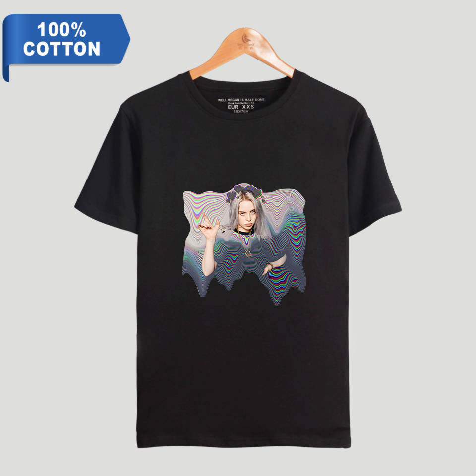billie eilish print 100 Cotton fashion Popular casual Short Sleeve T shirts Streetwear Basic hip hop Men Tee Member Summer Shirt in T Shirts from Men 39 s Clothing