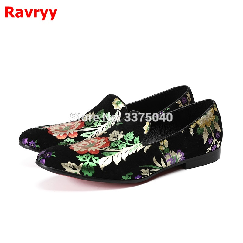 Hot Chic Flower Leaves Print Decor Men Shoes Suede Men Loafers Dress Men Flats Low Top Slip On Men Shoes suede low top slip on sneakers