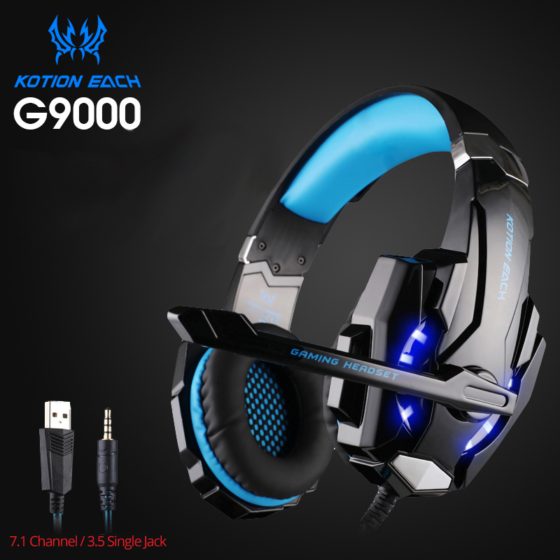 KOTION EACH G9000 3.5mm Game Gaming Headphone Headset Earphone With Mic LED Light For Laptop Tablet / PS4 / Mobile Phones g1100 3 5mm pro gaming headset headphone for ps4 laptop crack pattern led led blue black red white