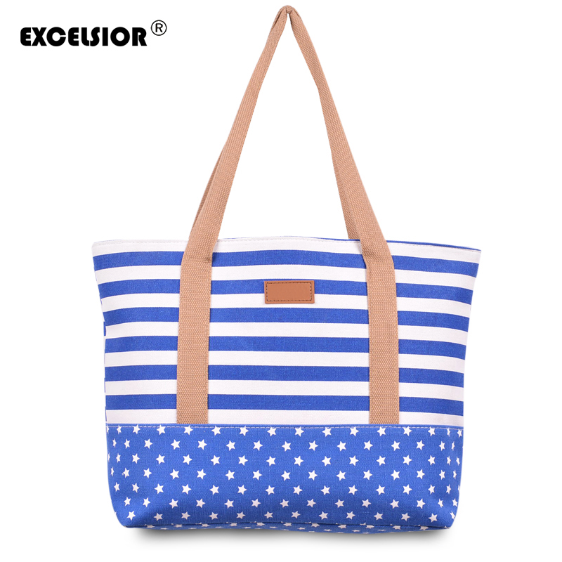 EXCELSIOR Striped Casual Tote Women Canvas Handbag Casual Single Shoulder Shopping Bags Beach Zipper Large Bag Sac A Main Bolsa excelsior waterproof canvas casual zipper shopping bag large tote women handbags floral printed ladies single shoulder beach bag