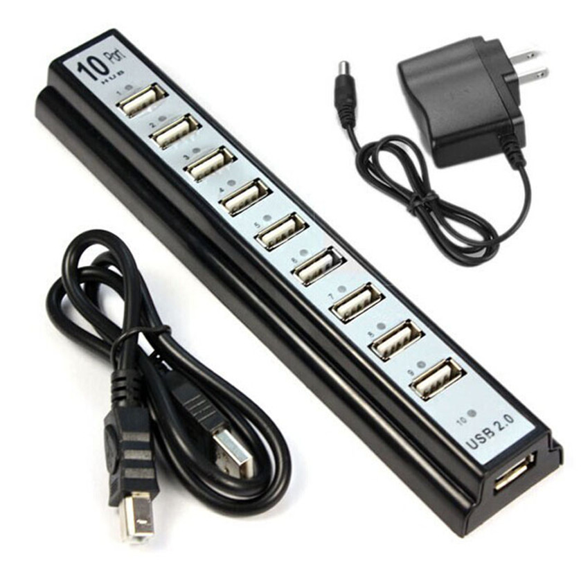 Best Price 10 Port Hi-Speed USB 2.0 Hub + Power Adapter for PC Laptop Computer