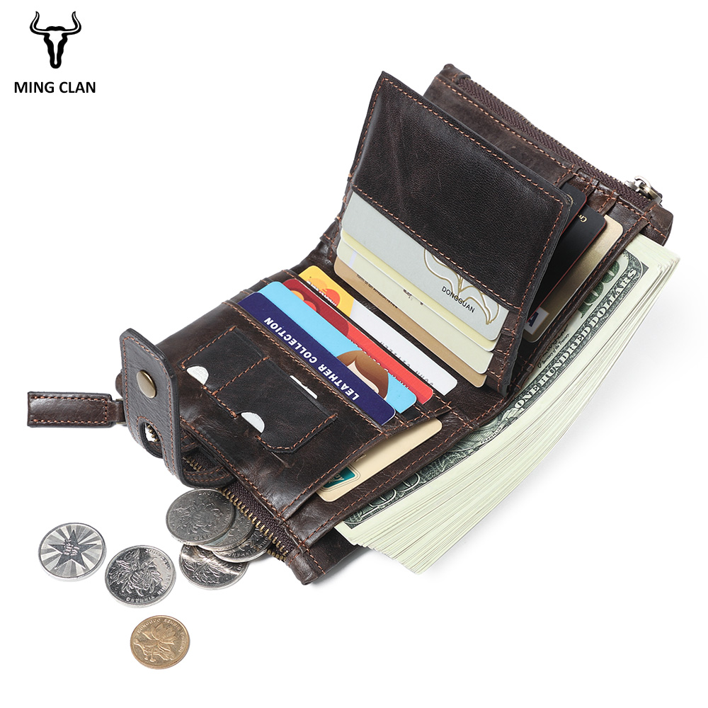 Mingclan Genuine Leather Wallet Men Portfolio Men Male Small Portomonee With Coin Purse Pockets Slim Rfid Fashion Mini Wallets mingclan genuine leather wallet men coin purse male cuzdan small wallet portomonee portfolio slim mini purse wallet money bag