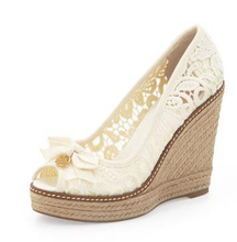 High Fashion Designer Brands 2014 New Women Wedges Shoes Platform Peep Toe Lace Ivory Ladies High Heel Sandal Wedges