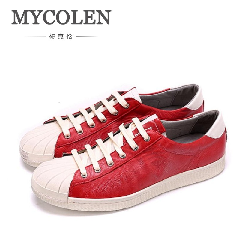 MYCOLEN Men Shoes Leather Breathable Shoes Fashion British Style Men's Loafers Spring Lace-Up Casual Low Shoes Zapatillas Hombre 2017 wholesale hot breathable mesh man casual shoes flats drive casual shoes men shoes zapatillas deportivas hombre mujer