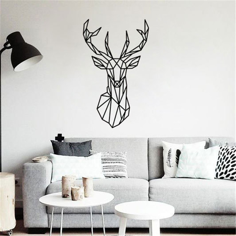 Geometric Deer Head DIY Wall Sticker Removable Minimalism Nordic Animal Wallpaper Living Rooms Poster Wall Paintings Home Decor line art