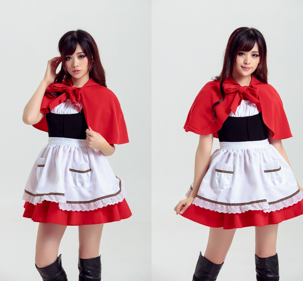 Little Red Riding Hood Cosplay Costumes Women Maid Dress Fancy Party Stage Costumes for Halloween Christmas Lolita Maid Dress