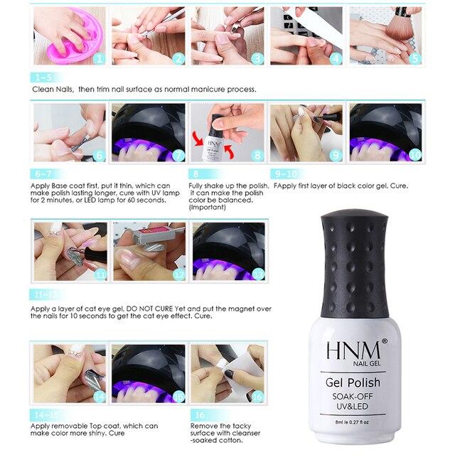 HNM 8ML Black Diamond Cat Eye Nail Colors Series Gel Polish Soak Off UV LED Nail Varnish Primer Gel Polish Art Salon Manicure 3