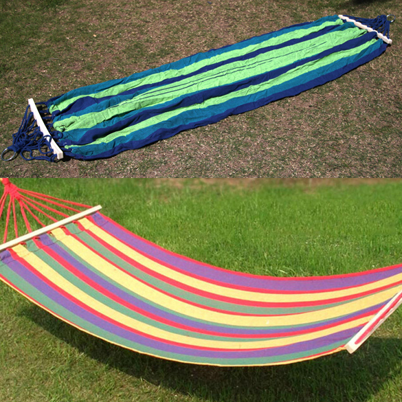 Canvas Fabric Single Outdoor Hammocks Spreader Bar Hammock Garden Camping Swing Hanging Bed Hangmat Garden Swing 200 x 80 cm thicken canvas single camping hammock outdoors durable breathable 280x80cm hammocks like parachute for traveling bushwalking