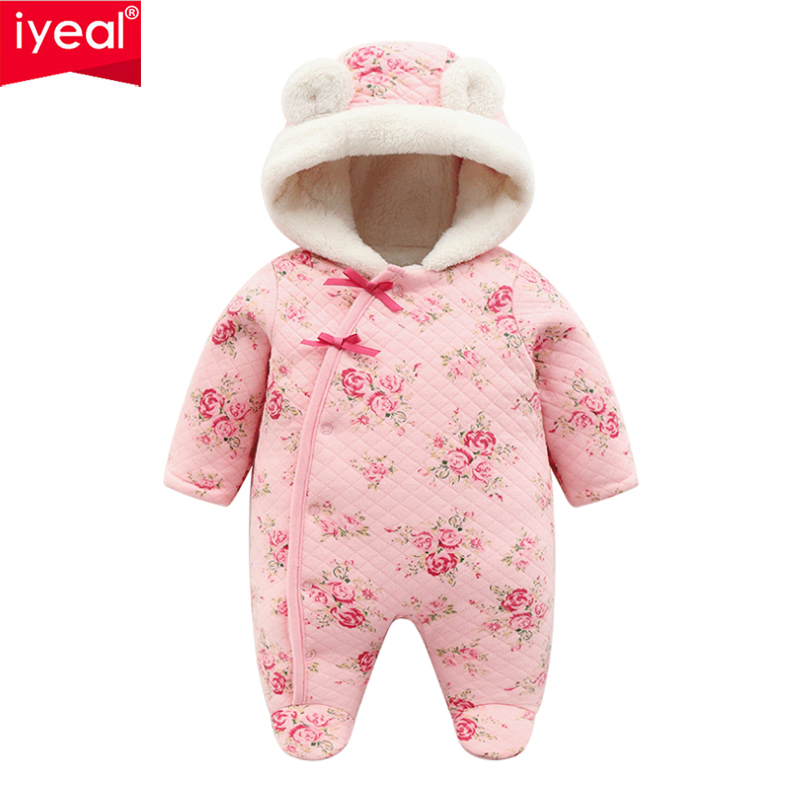 IYEAL Princess Newborn Baby Clothes Children Girls Rompers Winter Thicken Cotton Fleece Warm Hooded Toddler Infant Jumpsuits baby rompers winter baby boy girls clothes cotton newborn toddler clothes infant jumpsuits warm clothing