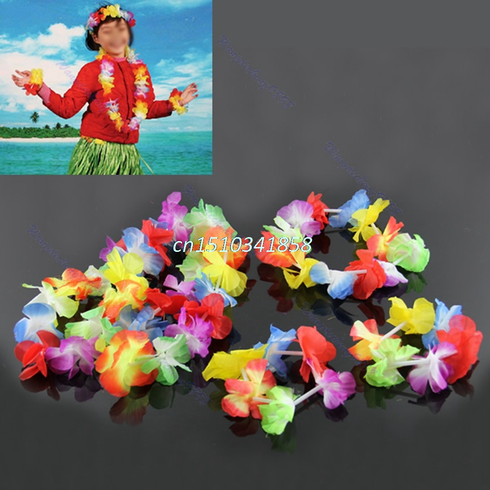 Hot Sale 4pcs Hawaiian Flower Necklace Lei Bracelets Headband Fancy