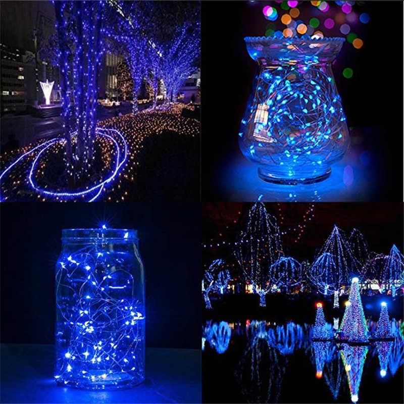 2 M 20 LEDs คริสต์มาส Garland สายไฟทองแดง LED String Lamp ไฟ Fairy สำหรับในร่มใหม่ปี Xmas งานแต่งงานตกแต่ง