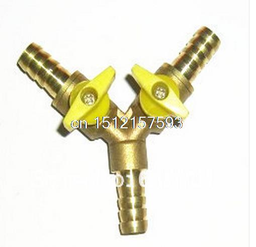 Y Type Equal Hose Barbs Three Forks 10mm Connection Brass Tee Coal Liquid Gas Ball Valve Plumbing Fittings Plastic Handle Water 8mm hose barb x 1 8 bspt male connection air brass ball valve water gas