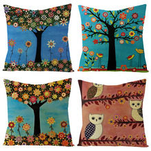 Fuwatacchi Linen Floral Plant Cushion Cover Colorful Flowers and Tall Trees Throw Pillow Square 45X45 Pillowcase