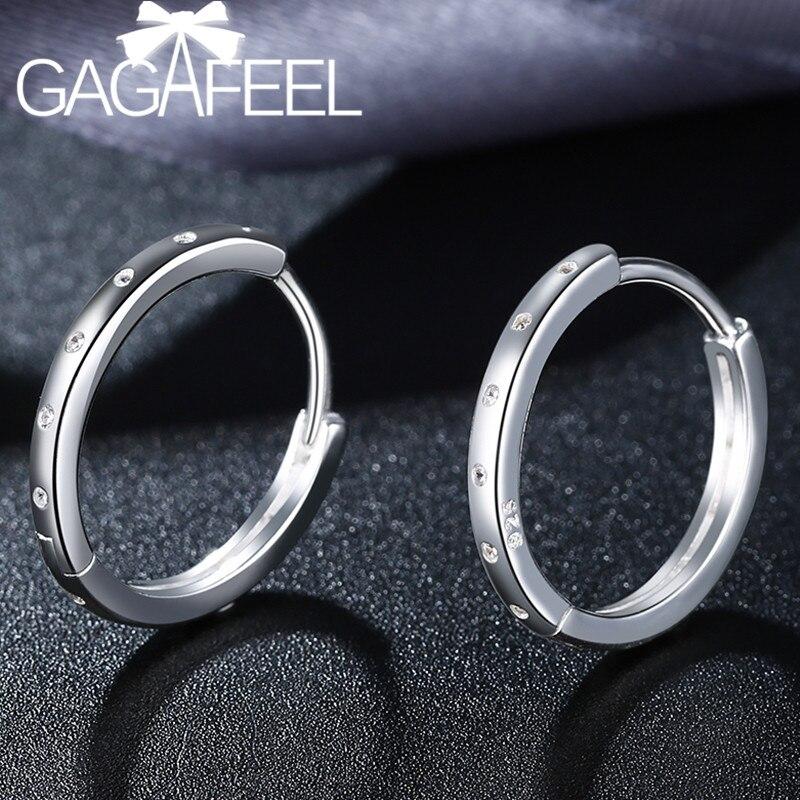 a74178fb1047 GAGAFEEL claro CZ de Plata de Ley 925 pendientes de aro para mujeres ...