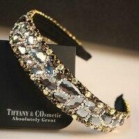 Luxury Sparkly Korea Hot Fashion Women Trendy Big Crystal Rhinestone Hair Band Bridal Wedding Headband Hair