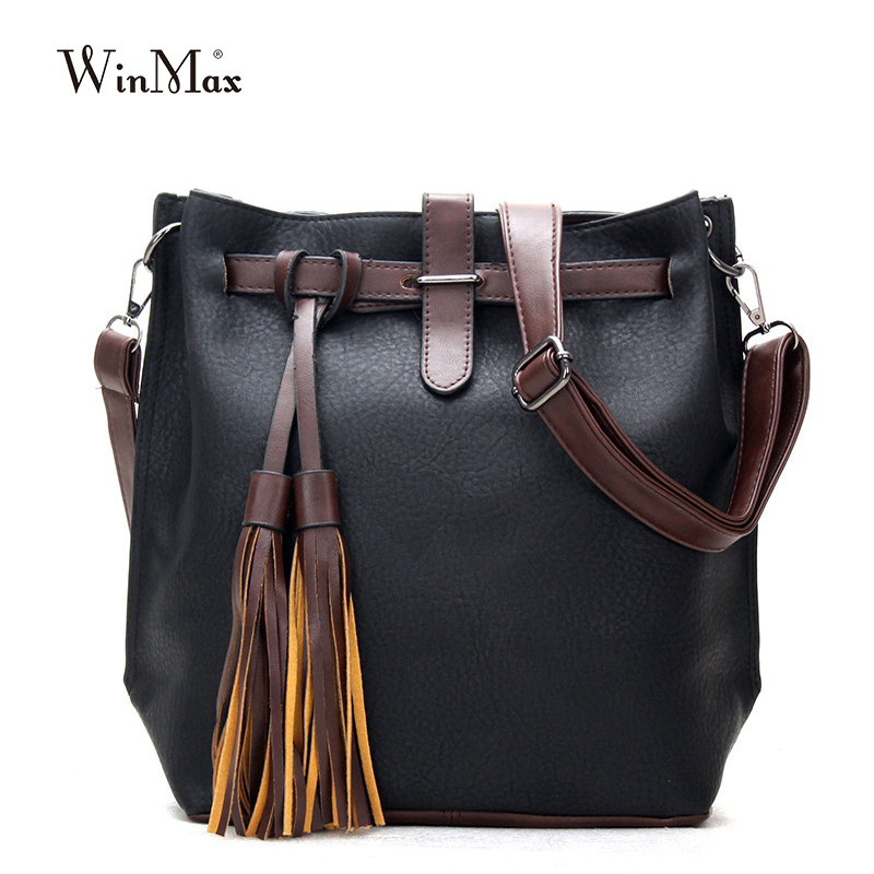Factory Outlet Winmax Vintage Women Handbags PU Leather Shoulder Bags  tassel bucket Totes Belt Large Capacity Female Bolsa Sacs-in Shoulder Bags  from ... 5724bc79397cc