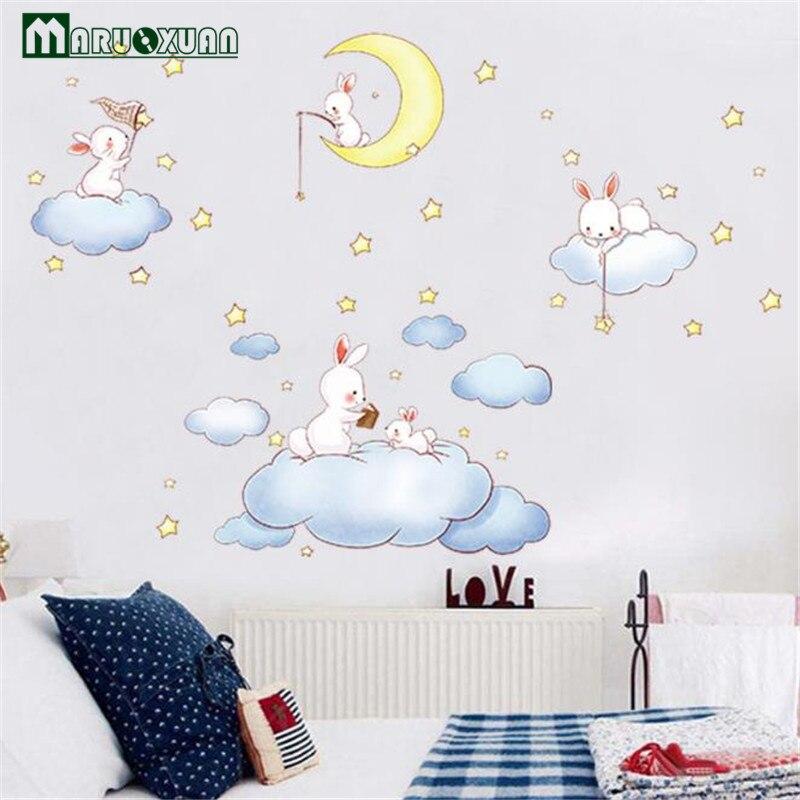 Maruoxuan New Cartoon Animal Balloon Clouds Sticker Kids Room Baby Bedroom Kindergarten Background Layout Sticker Wall Stickers