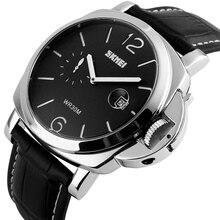 547d1abedb9 Relógio do esporte De Quartzo dos homens do Relógio de Pulso Calendário  Pulseira de Couro Genuíno Preto Com Pequeno Mostrador Re.