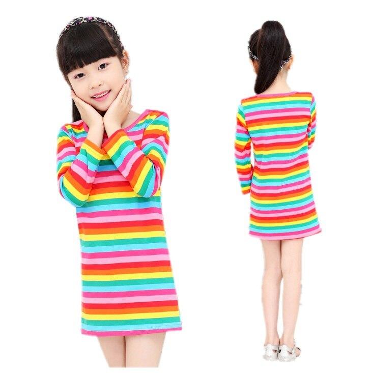 2019 dívčí šaty Rainbow dívka tiskové šaty značka dětské oblečení jaro nové princezna šaty pro dívku baby clothting k dispozici
