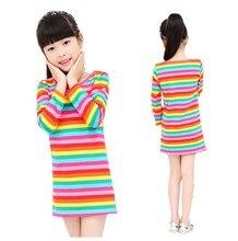 2014 Kids Girls Rainbow girl print dress brand childrens clothing spring new princess for girls baby clothting available
