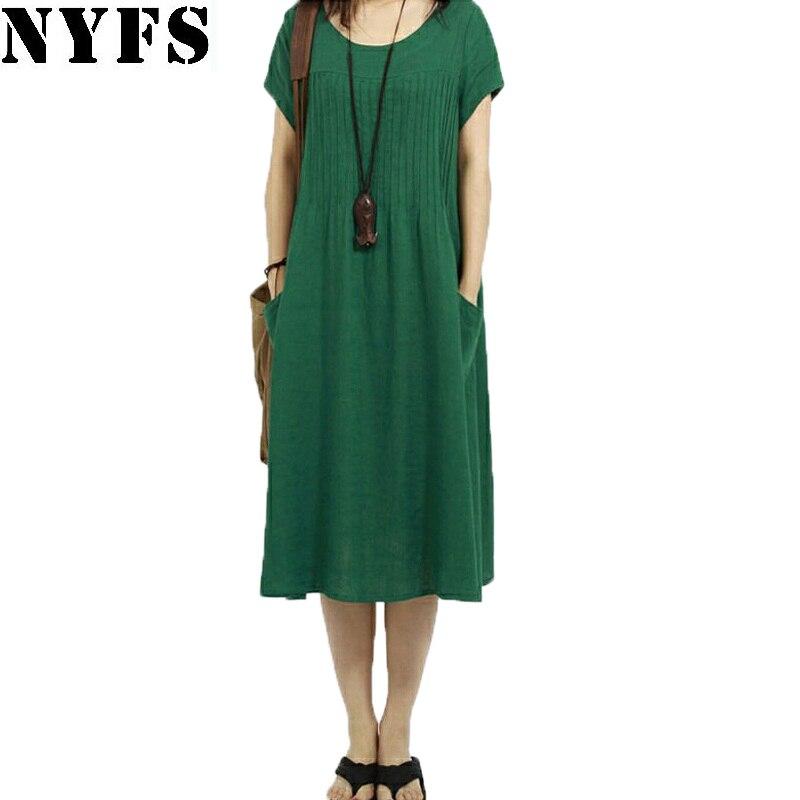2018 New summer dress loose large size Vintage Style Cotton Linen Fold women long Dress Vestidos Robe Elbise