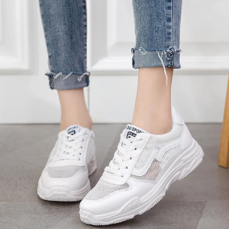 new loukong 2018 summer shoe mesh sports shoes, breathable leisure small white women's shoes,