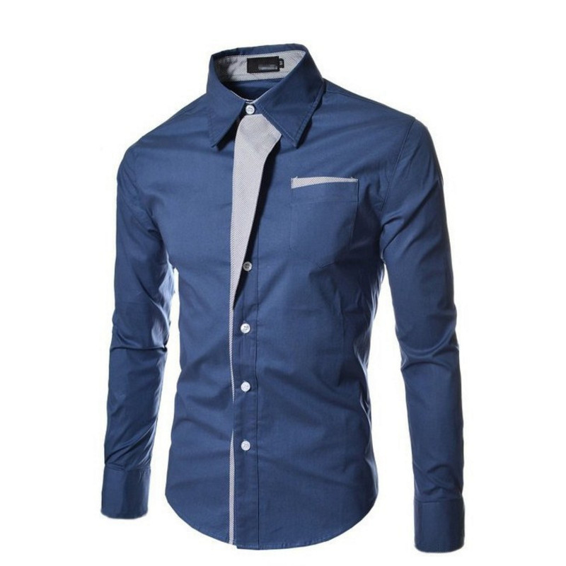 dc11af8a676 New Mens Casual Long Sleeve Shirt Men Stitching Shirts Male Lapel Shirts  Cotton Masculina Casual Male 3XL