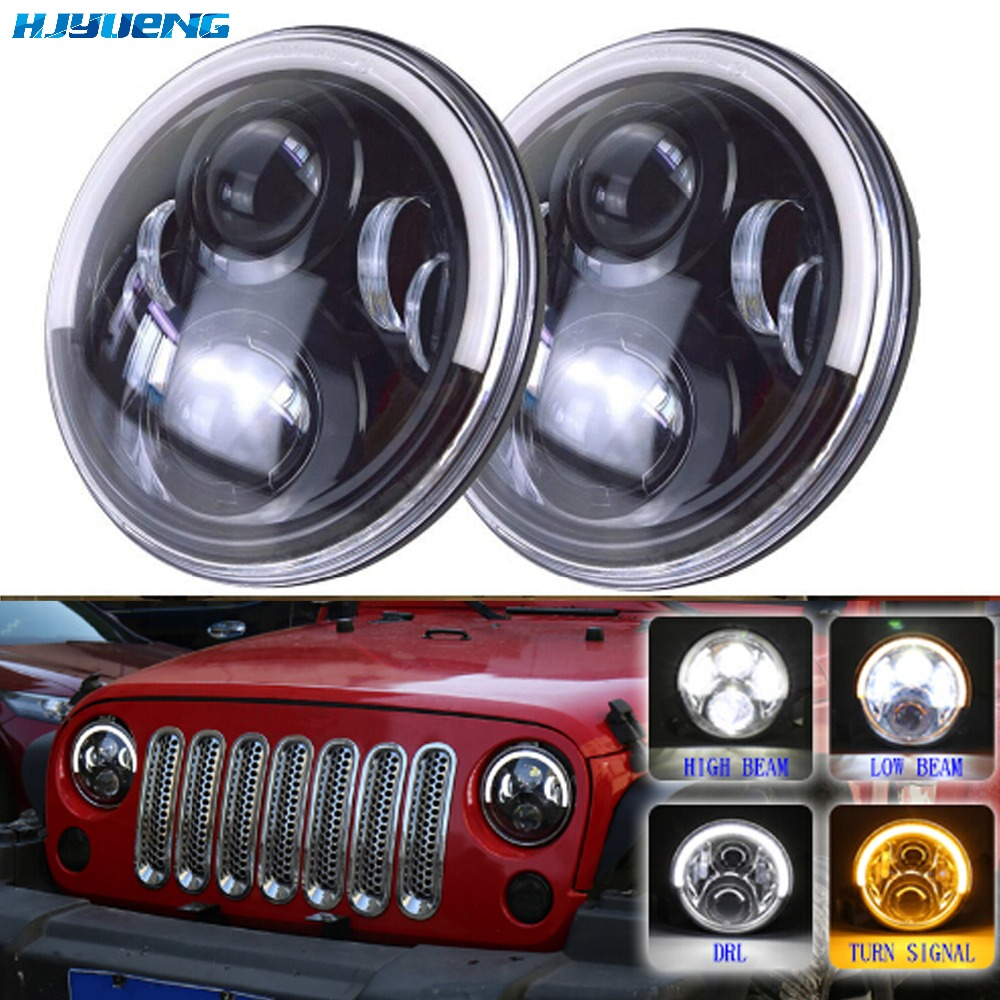 7inch LED Halo Headlights 7 LED Headlight H4 Hi/low Auto Headlight With Angle Eye For Jeep wrangler JK TJ for Harley Davidson 7 inches led starry headlights with devil demon eye and led angel for jeep wrangler jk 2 pcs