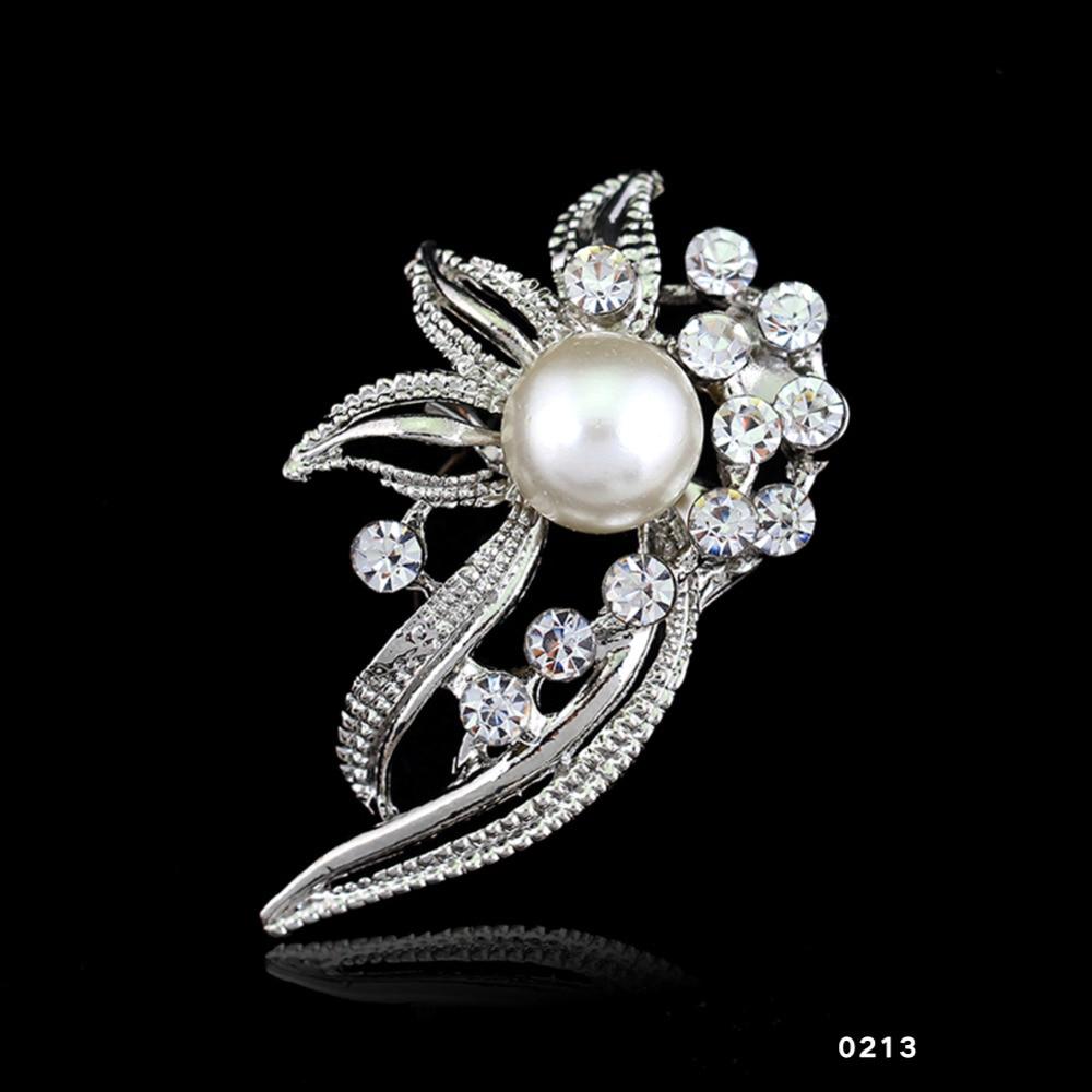14 types Fashion  Bridal Bouquet Flower Pattern Brooch Pin Rhinestone Inlaid Crystal Women Wedding Brooches Fine Jewelry