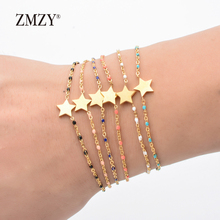 ZMZY 6pcs/lots Mixed Color Boho Star Charm Bracelet Gold Color Link Chain Jewelry Stainless Steel Bracelet Women Accessories