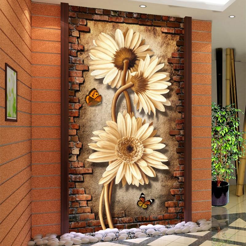 Custom photo mural wallpaper vintage chrysanthemum 3d for Hotel entrance decor