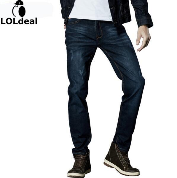 2017 Brand Men Stretch Denim Slim Elastic jeans Jeans Black Blue Fashion Trendy Trousers Pants Size