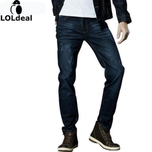2017 Марка Мужчины Джинсовая Тонкий Эластичные джинсы Джинсы Черный Синий Модные Брюки Брюки Размер 33-42 мужчины