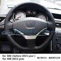 Frete grátis tampa da roda de direcção Do Carro Costurar-On genuíno carro de couro acessórios Para Peugeot 307/308 2009-2014/408 2013 ano